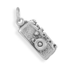 Camera Charm Sterling Silver Shutterbug - Made in the USA